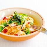 山芋とスナップえんどうの梅スパゲッティ