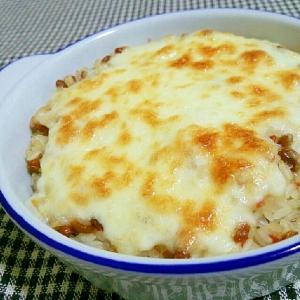 納豆好き限定♡梅納豆ご飯のチーズ焼き