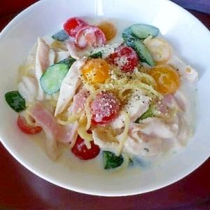 スープの素で簡単☆イロドリ冷製クリームパスタ