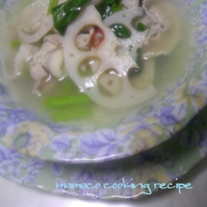 豚バラとれんこんと小松菜DE♡塩麹のスープ♡
