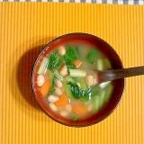 水煮大豆と野菜の味噌汁♪