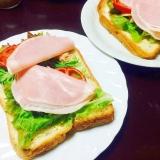 ライ麦パン&シーチキン&トマト&ハム