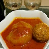玉ねぎとスコッチエッグのトマト煮
