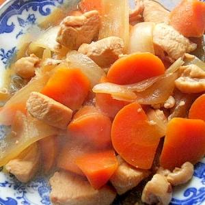 +味噌❤鶏肉&人参&タマネギの煮物♪