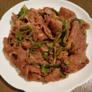 牛肉&大根の葉&長ねぎの炒め物