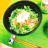 【糖質制限】糖質0麺ごはん♡温玉のせ納豆ツナ丼