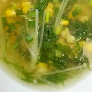 水菜とコーンのしょうがスープ(^^)