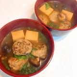 餃子のタネの団子と椎茸の☆高野豆腐チゲ