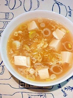 そうめんかぼちゃと豆腐の☆シャキとろ卵スープ
