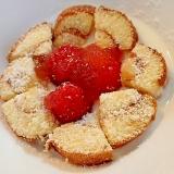 ❤ロールケーキと冷凍苺のヨーグルト❤