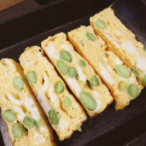 余った納豆のタレ&枝豆で作る彩り卵焼き