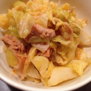 15分♪豚コマとキャベツのチーズケチャップ煮