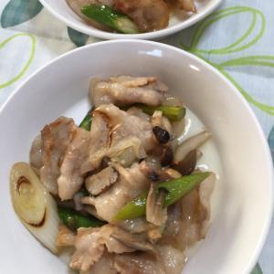豚バラ肉とアスパラの塩ニンニク炒め
