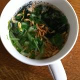 水菜とわかめのミニラーメン