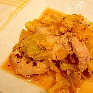 ヘルシー♪キャベツと鶏肉のポン酢マスタード蒸し