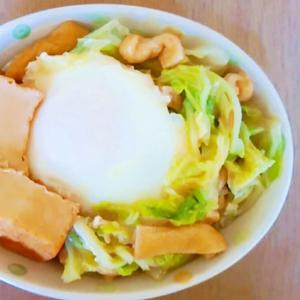 白菜と厚揚げの落とし卵煮