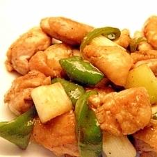 鶏もも肉とネギの焼肉たれマヨ炒め