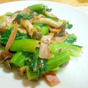 小松菜、しめじ、ハムのマヨ塩麹ソテー