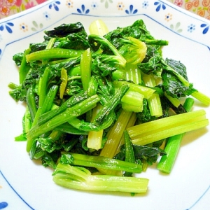 小松菜とセロリの中華炒め