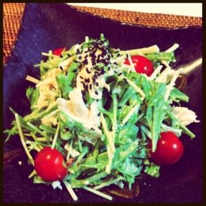 P's亭*蒸し鶏と水菜の梅マヨサラダ