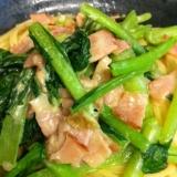 小松菜ベーコンのクリームパスタ