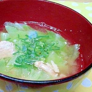 鮭缶&キャベツの味噌汁