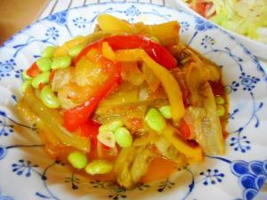 白ナスとパプリカと枝豆のトマト煮