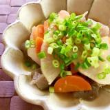 お肉なし!こんにゃくと根菜のモツ煮込み風☆味噌味