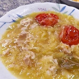 トマト豚バラザワークラウトスープ