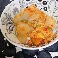 白菜とがんもどきのピリ辛丼