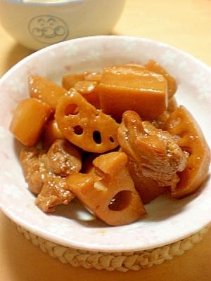鶏肉・レンコン・里芋の、照り照り炒め煮☆