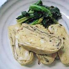 塩昆布入り卵焼きとほうれん草のバター炒め