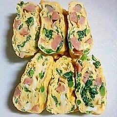 お弁当の卵焼き<ウィンナー&青菜>