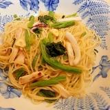 イカと小松菜のスパゲッティ