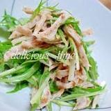 小さなおかず♪水菜と蒸し鶏のゴマポン和え。