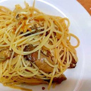 手抜きペペロンチーノ/牡蠣油漬け缶
