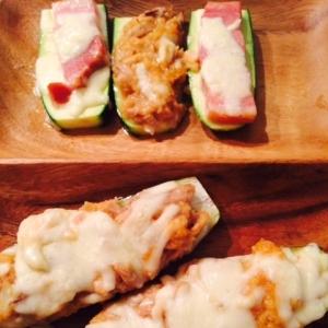 低糖質おつまみ!茄子とズッキーニのツナ味噌チーズ