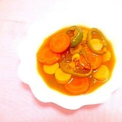 人参とピーマンの簡単カレースープ