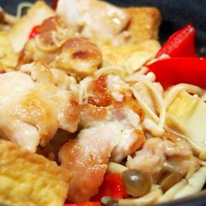 鶏肉と厚揚げとパプリカときのこの炒め物