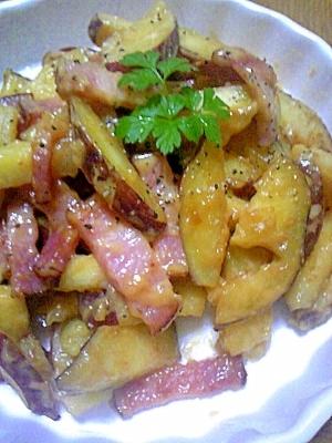 さつま芋とベーコン炒め~オイマヨ味~