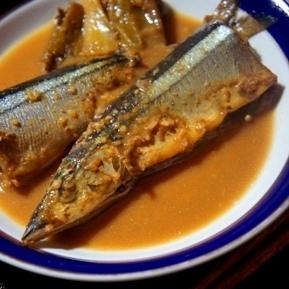 とろとろ葱といただく、秋刀魚の味噌煮