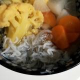 にんじん大根カリフラワーのしらすスープ