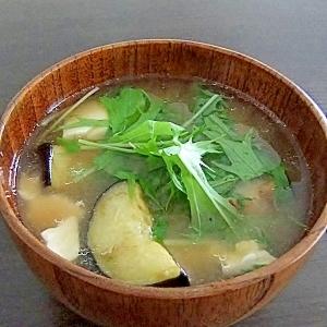 揚げなす、豆腐、水菜のみそ汁