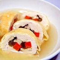 蕗と鶏ひきのくるくる巻き煮