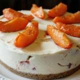 杏とラズベリーのホワイトチョコレートチーズケーキ