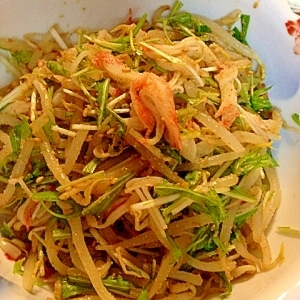 シャキシャキ★もやしと水菜のカニかま胡麻和えサラダ