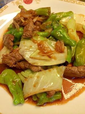 牛肉とししとうの焼肉のタレ炒め