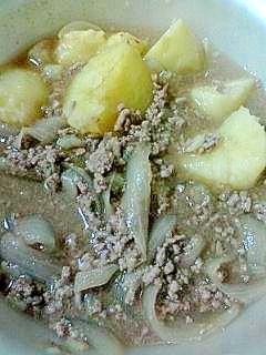 レンジで肉じゃが風じゃが芋の煮物♪ミンチで節約♪