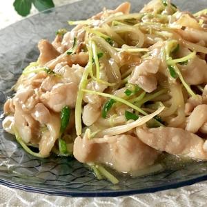 豚バラ肉と豆苗ともやしのあんかけ炒め