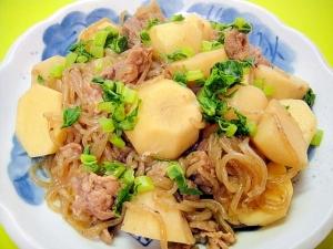 里芋と糸こんにゃく豚肉の煮物